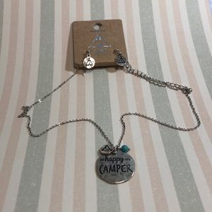 Happy camper necklace with matching earrings